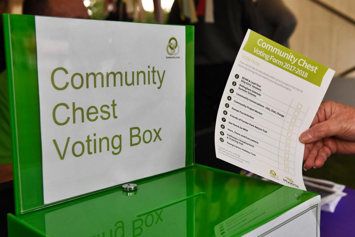 Image of green Community Chest voting box