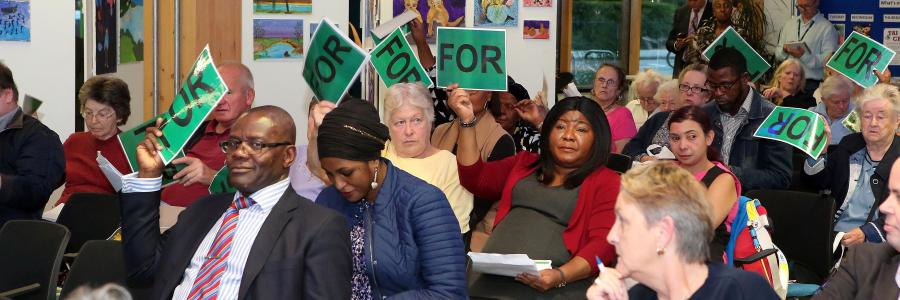 Photo of Phoenix residents voting at the 2018 Annual General Meeting