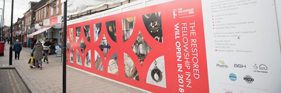 Image of hoardings at the Fellowship Inn