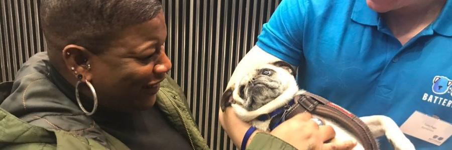 Housing Officer Veronica meets a pug rehomed by Battersea