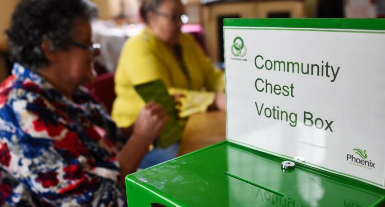 A green, metal voting box