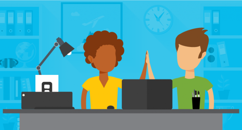Graphic image of two people high-fiving. They are sitting behind a desk with a computer on