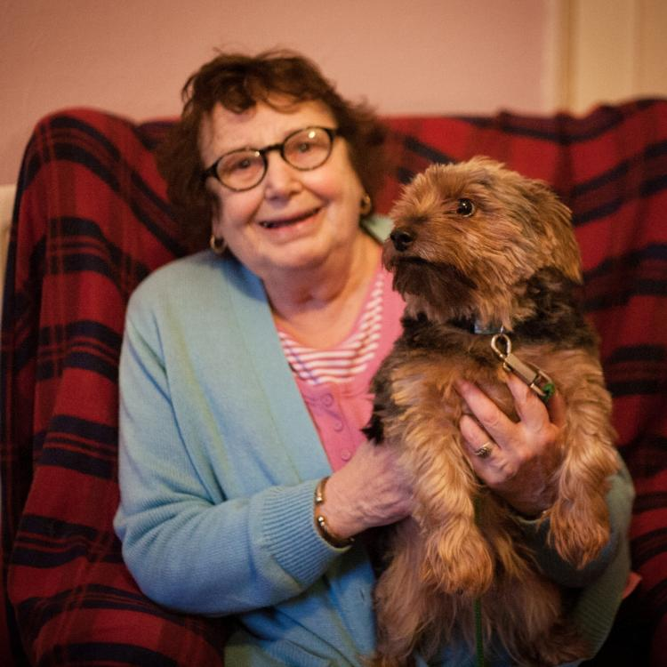 Photo of Helen Whiteley and her dog, Rocco