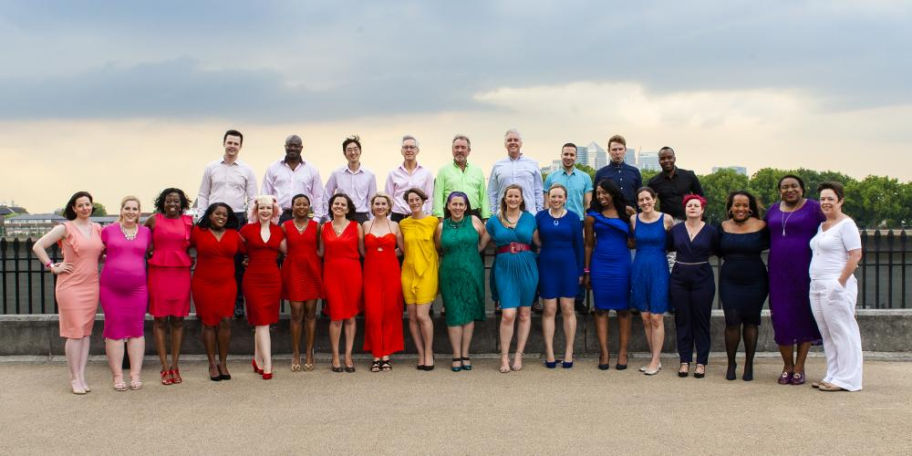 Photograph of the Lewisham and Greenwich NHS Choir in rainbow colours