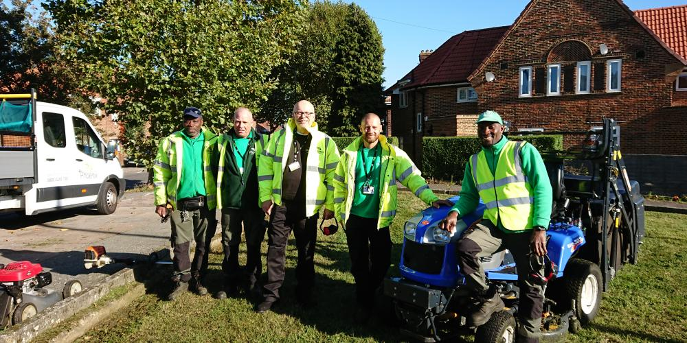 A photo of some of the members of the Grounds Maintenance team