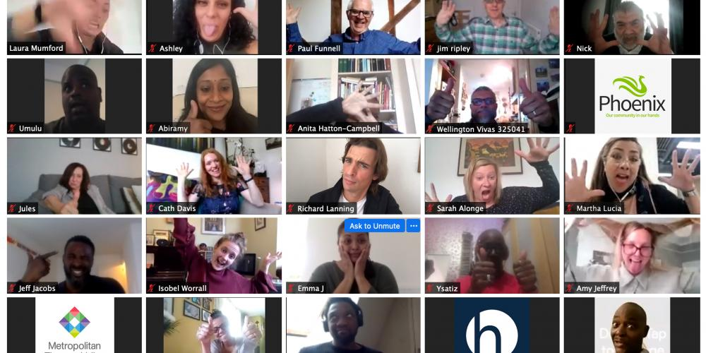 A screenshot of a virtual meeting. You can see a grid of participants who are making funny faces