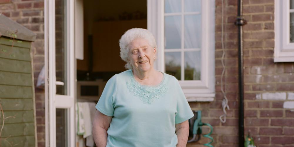 Patricia Birch in the garden of her home in Downham