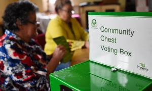 A green, metal voting box