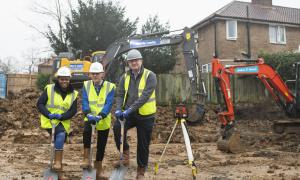 Phoenix tenant and Vice Chair, Carmen Simpson, Chief Executive Jim Ripley and Paul Cooke from contractor Thomas Sinden.