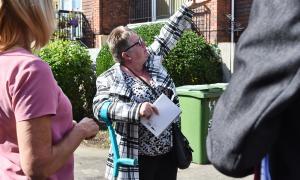 Photo of Eileen Davies while on a tour of Phoenix estates