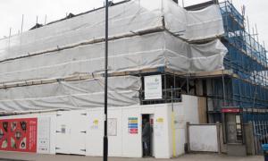 The Fellowship Inn under scaffolding